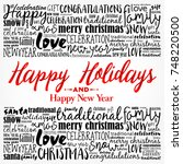 happy holidays and happy new... | Shutterstock . vector #748220500