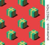 isometric gift boxes seamless... | Shutterstock .eps vector #748227424