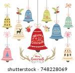 christmas bell ornament... | Shutterstock .eps vector #748228069
