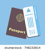brown passport with blue paper... | Shutterstock .eps vector #748233814