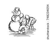 two children building a snowman ... | Shutterstock .eps vector #748234054