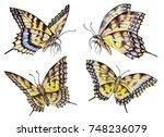 set of watercolor butterflies ... | Shutterstock . vector #748236079