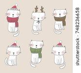 cute christmas cat | Shutterstock .eps vector #748236658