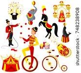 circus set cartoon style vector ... | Shutterstock .eps vector #748238908