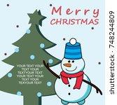 merry christmas  christmas tree ...   Shutterstock .eps vector #748244809