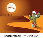 christmas scene in the desert.... | Shutterstock .eps vector #748245664