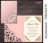 paper greeting card with lace... | Shutterstock .eps vector #748246270