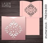die laser cut wedding card...   Shutterstock .eps vector #748246300