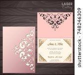 paper greeting card with lace... | Shutterstock .eps vector #748246309