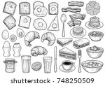 breakfast collection... | Shutterstock .eps vector #748250509