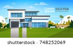 modern cottage house exterior ... | Shutterstock .eps vector #748252069