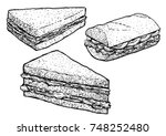 sandwich illustration  drawing  ... | Shutterstock .eps vector #748252480