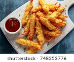 fried shrimps tempura with... | Shutterstock . vector #748253776