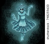 floating ghost girl  spooky... | Shutterstock . vector #748255633