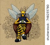 bee man character with a cup of ... | Shutterstock . vector #748255780