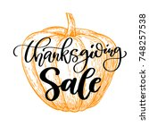 thanksgiving day sale card with ... | Shutterstock . vector #748257538