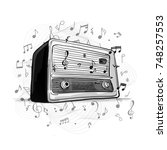 retro radio  sketch for your... | Shutterstock .eps vector #748257553