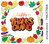 hand drawn thanksgiving... | Shutterstock .eps vector #748257868