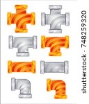 pipes plumbing color orange and ... | Shutterstock .eps vector #748259320