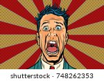 pop art man screams in horror ... | Shutterstock .eps vector #748262353