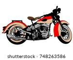 old big bike on white background | Shutterstock .eps vector #748263586