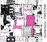 cats pattern vector | Shutterstock .eps vector #748271968