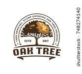 oak silhouette of a tree ... | Shutterstock .eps vector #748274140