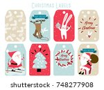 christmas labels and decoration | Shutterstock .eps vector #748277908