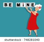 senior woman playing valentine... | Shutterstock .eps vector #748281040