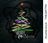 christmas greeting card. modern ... | Shutterstock .eps vector #748289794