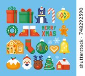 christmas flat style elements... | Shutterstock .eps vector #748292590