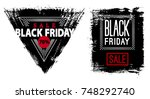 black friday. banner on black... | Shutterstock .eps vector #748292740