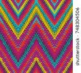 grunge chevron vector pattern... | Shutterstock .eps vector #748304506