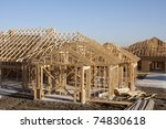 wooden frame for building construction - stock photo