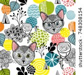 smart cats and colorful...   Shutterstock .eps vector #748308154