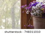 dry flowers in a clay vase on...   Shutterstock . vector #748311010