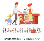 family shopping in supermarket. ... | Shutterstock .eps vector #748313770