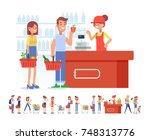 shopping in supermarket. flat... | Shutterstock .eps vector #748313776