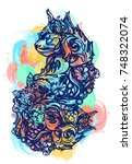 magic cat color tattoo and t... | Shutterstock .eps vector #748322074