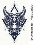 bull tattoo and t shirt design. ... | Shutterstock .eps vector #748322500
