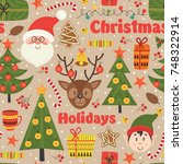 seamless pattern with christmas ... | Shutterstock .eps vector #748322914