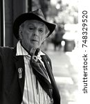 Small photo of Quentin Crisp. Soho, New York City. May 27th 1999. Born in the UK on Christmas day 1908 and died aged 90 in Manchester, England November 21st 1999. Gay icon, author, eccentric, activist and wit.