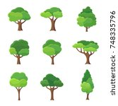 collection of trees... | Shutterstock .eps vector #748335796