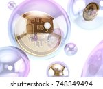 bitcoin inside soap bubble ... | Shutterstock . vector #748349494