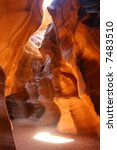 Light penetrating the Antelope Canyon in Arizona - stock photo