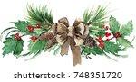 watercolor scandinavian... | Shutterstock . vector #748351720