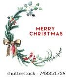 watercolor scandinavian... | Shutterstock . vector #748351729