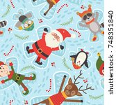 seamless pattern with christmas ... | Shutterstock .eps vector #748351840