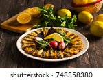 turkish fried anchovy  hamsi... | Shutterstock . vector #748358380