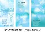 set blue medical background... | Shutterstock .eps vector #748358410